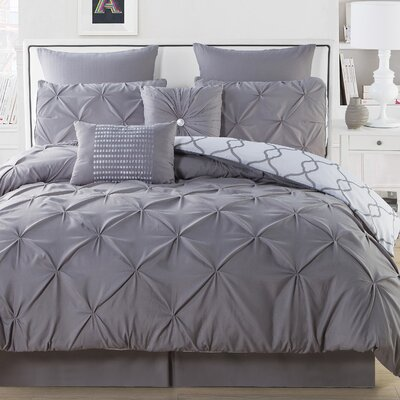 Rigina 8 Piece Reversible Comforter Set Color: Gray, Size: Queen