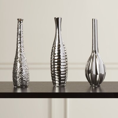 Gregory 3 Piece Table Vase Set Color: Silver