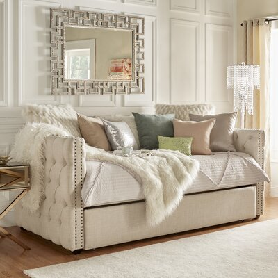 Ghislain Daybed with Trundle Color: Beige Linen