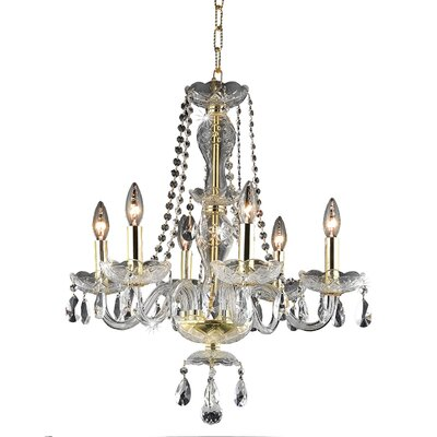 Paula 6-Light Crystal Chandelier Finish: Gold