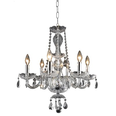 Rolando 6-Light Crystal Chandelier Finish: Chrome