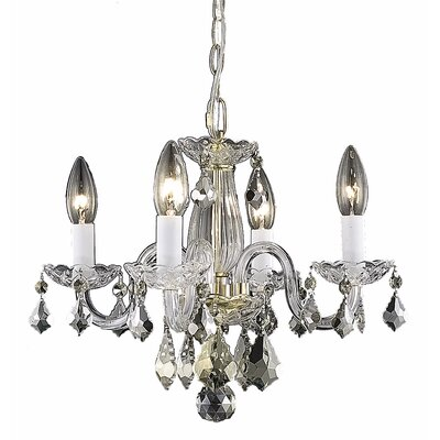 Carmen 4-Light Crystal Chandelier Finish / Crystal Color: Gold / Crystal (Clear)