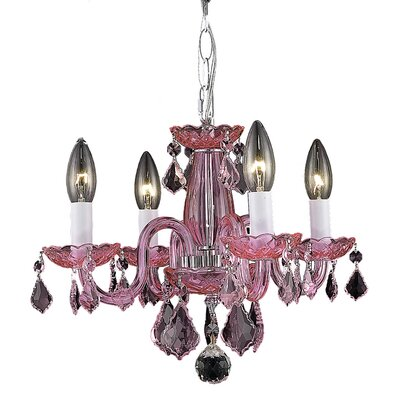 Carmen 4-Light Crystal Chandelier Finish / Crystal Color: Pink / Rosaline (Pink)