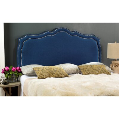 Carmen Upholstered�Panel Headboard Color: Steel Blue, Size: Twin