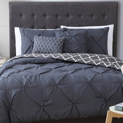 Amaratha 5 Piece Reversible Comforter Set Color: Charcoal, Size: Queen
