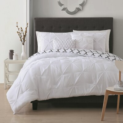 Amaratha 5 Piece Reversible Comforter Set Color: White, Size: Queen
