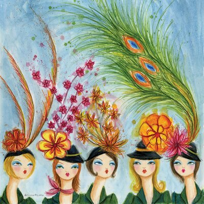 In Style Spring Hats by Bella Pilar Painting Print on Wrapped Canvas