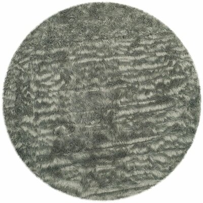 Hand-Tufted Gray Area Rug Rug Size: Round 4