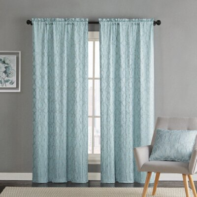 House of Hampton Heroux Geometric Semi-Sheer Rod Pocket Curtain Panels