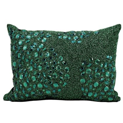 Hertzog Beaded All Over Throw Pillow Color: Emerald