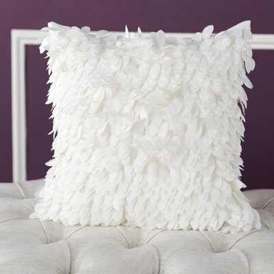 Tonnele Ruffle Throw Pillow Size: 18 H x 18 W x 4 D, Color: White, Fill: Polyester