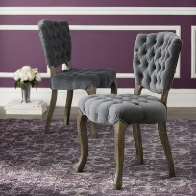 Therrien Tufted Side Chair Upholstery: Gray