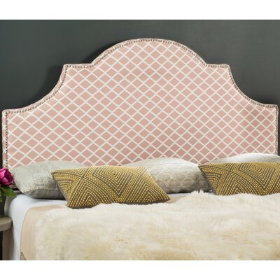Harrogate Upholstered Panel Headboard Size: Full, Upholstery: Peach Pink/White