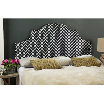 Harrogate Upholstered Panel Headboard Size: 53.9 H x 55.9 W x 3.1 D, Upholstery: Peach Pink/White