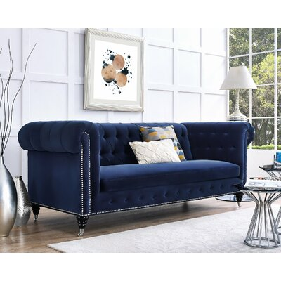 Gertrudes Chesterfield Sofa Upholstery: Navy