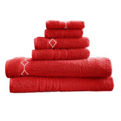 6 Piece Towel Set Color: Cranberry / Ivory
