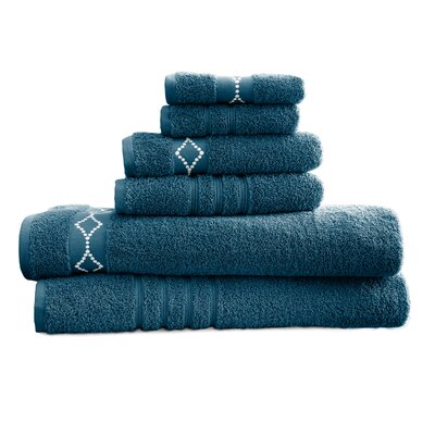 Luxury 6 Piece Towel Set Color: Denim / Ivory