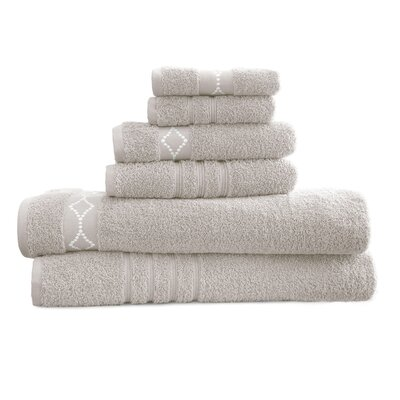 6 Piece Towel Set Color: Gray / Ivory