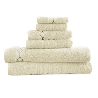 6 Piece Towel Set Color: Ivory / Gray