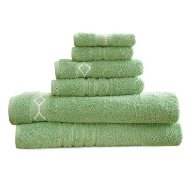6 Piece Towel Set Color: Sage / Ivory