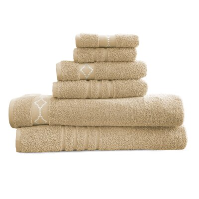 6 Piece Towel Set Color: Taupe / Ivory