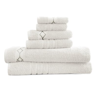 6 Piece Towel Set Color: White / Gray