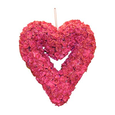 Glittery Rose Heart Sculpture Color: Pink