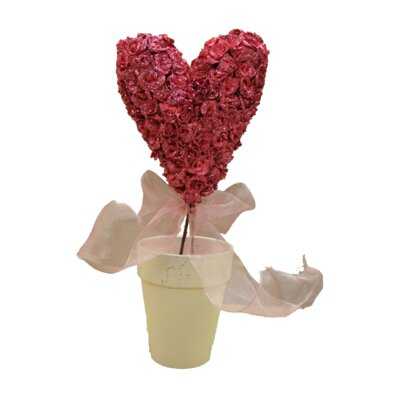 Glittery Rose Heart Topiary Desk Top Plant in Pot Flower: Pink