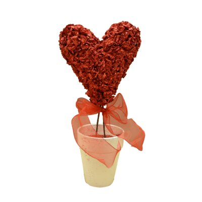 Glittery Rose Heart Topiary Desk Top Plant in Pot Flower: Red
