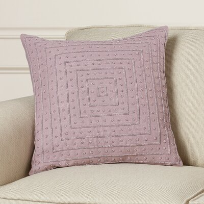 Cotton Throw Pillow Size: 18 H x 18 W x 4 D, Color: Mauve