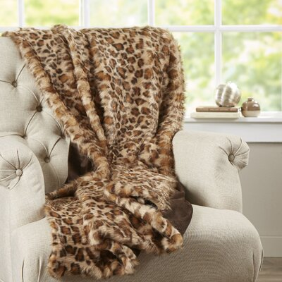 Phyle Leopard Print Faux Fur Throw