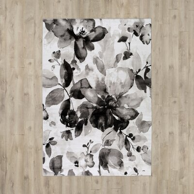Gilles Charcoal/Light Gray Area Rug Rug Size: 52 x 76