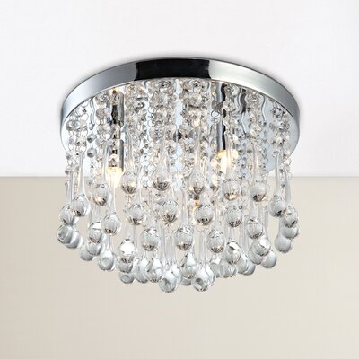 Mezzaluna 3-Light Flush Mount Finish: Chrome