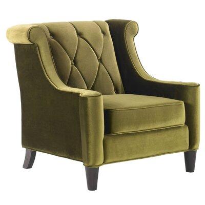 Carressa Velvet Wingback Armchair Upholstery: Green