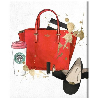 Bags, Shoes and Coffee Red Graphic Art on Wrapped Canvas