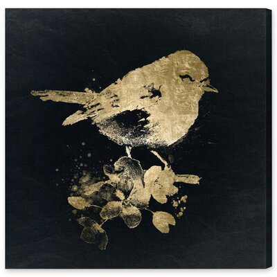 Gold Bird Painting Print on Wrapped Canvas Size: 12