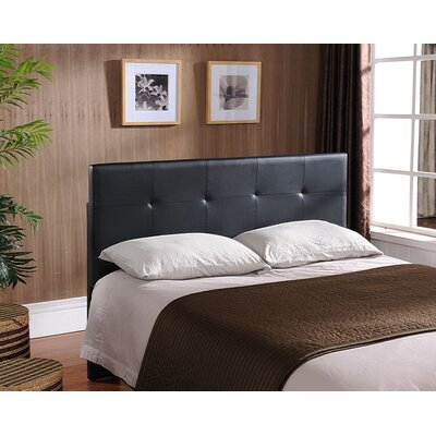 Avins Queen Upholstered Panel Headboard Upholstery: Black