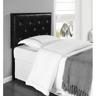 Upholstered Panel Headboard Size: Twin, Upholstery: Black