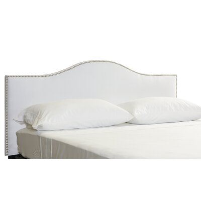 Doleman Nail Button Upholstered Panel Headboard Size: Queen, Color: White