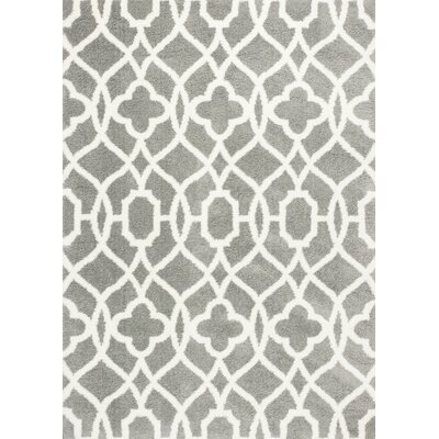 Annia Gray/Ivory Area Rug Rug Size: 53 x 77