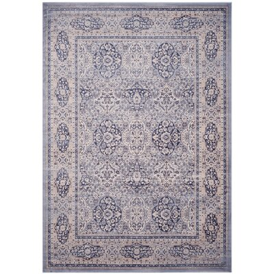 Laplaigne Blue / Ivory Area Rug Rug Size: Rectangle 4 x 57