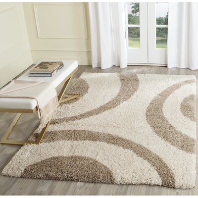 Laplaigne Shag Beige/Ivory Area Rug Rug Size: Rectangle 51 x 76