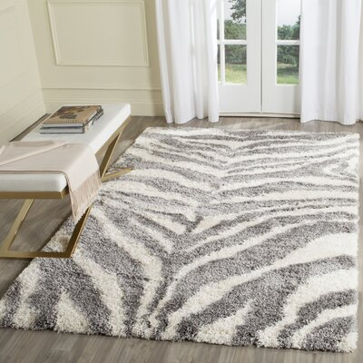 Laplaigne Shag Ivory/Gray Area Rug Rug Size: Rectangle 67 x 92