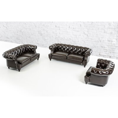 Argenta 3 Piece Leather Living Room Set