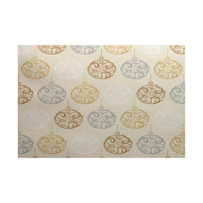 Beige Painterly Bulbs Geometric Print Indoor/Outdoor Area Rug Rug Size: 2 x 3