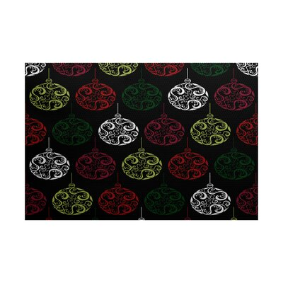 Black Painterly Bulbs Geometric Print Indoor/Outdoor Area Rug Rug Size: 2 x 3