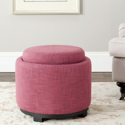 Hersh Tray Storage Ottoman Color: Rose