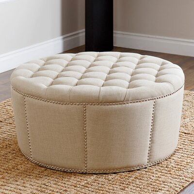 Stockport Nailhead Trim Ottoman Upholstery: White