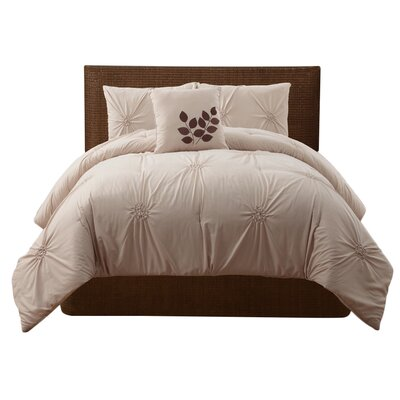 Dilsen 4 Piece Comforter Set Size: King, Color: Taupe