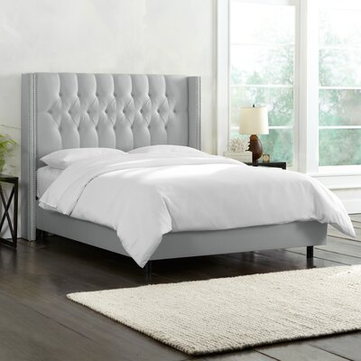 Galleria Upholstered Panel Bed Upholstery: Shantung Silver, Size: King
